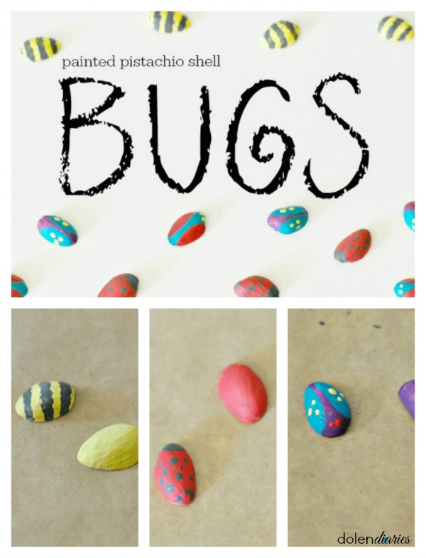 painted pistachio shell bugs - Bug Week. A list of books, crafts, activities and recipes to easily engage your kids.