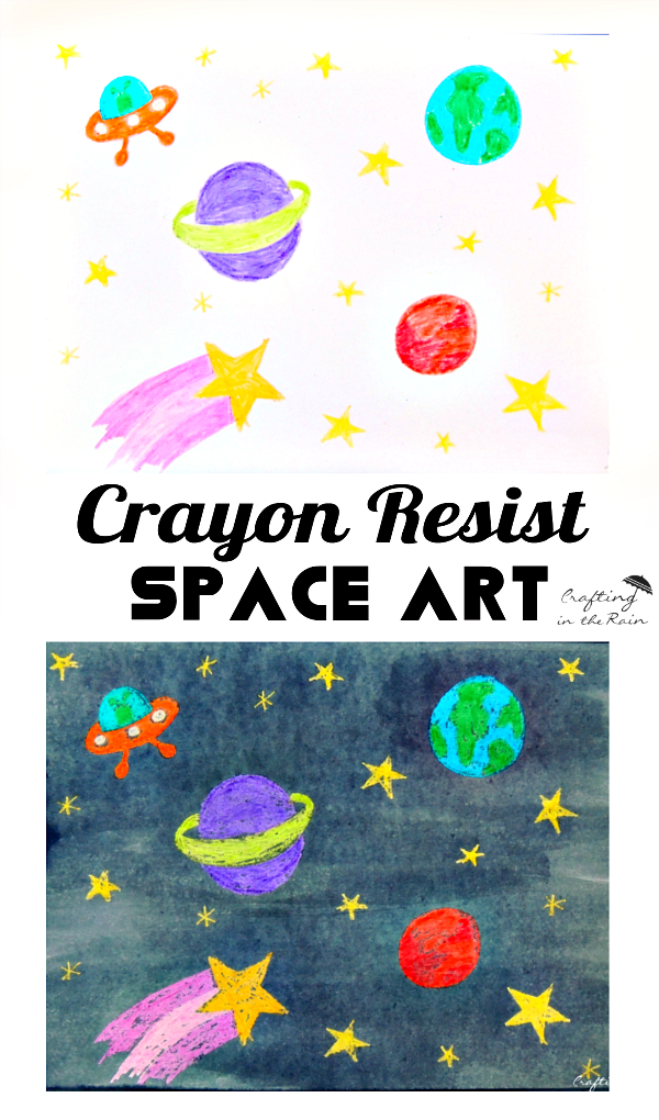 space crayon resist space art