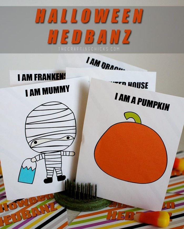 picture regarding Hedbanz Cards Printable called Halloween HedBanz - The Composing Chicks