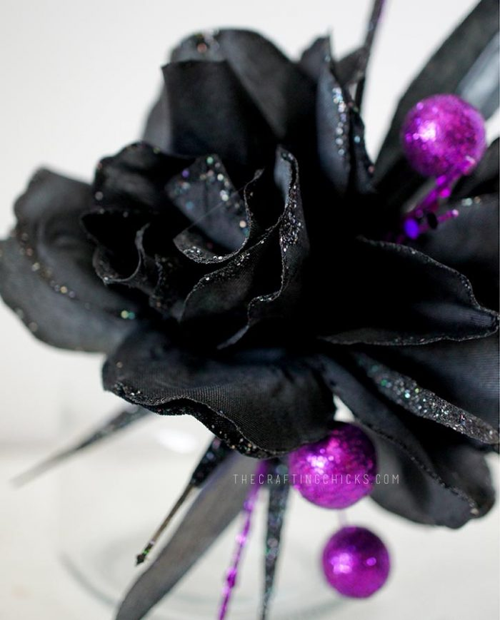 black flower corsage