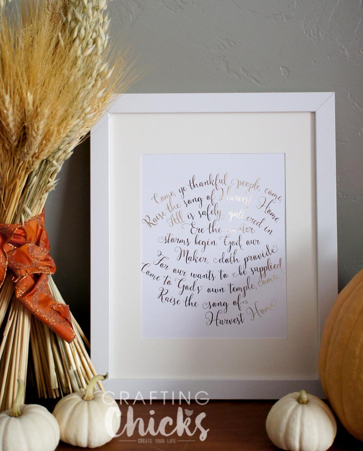 Thanksgiving Harvest Home Foil Art