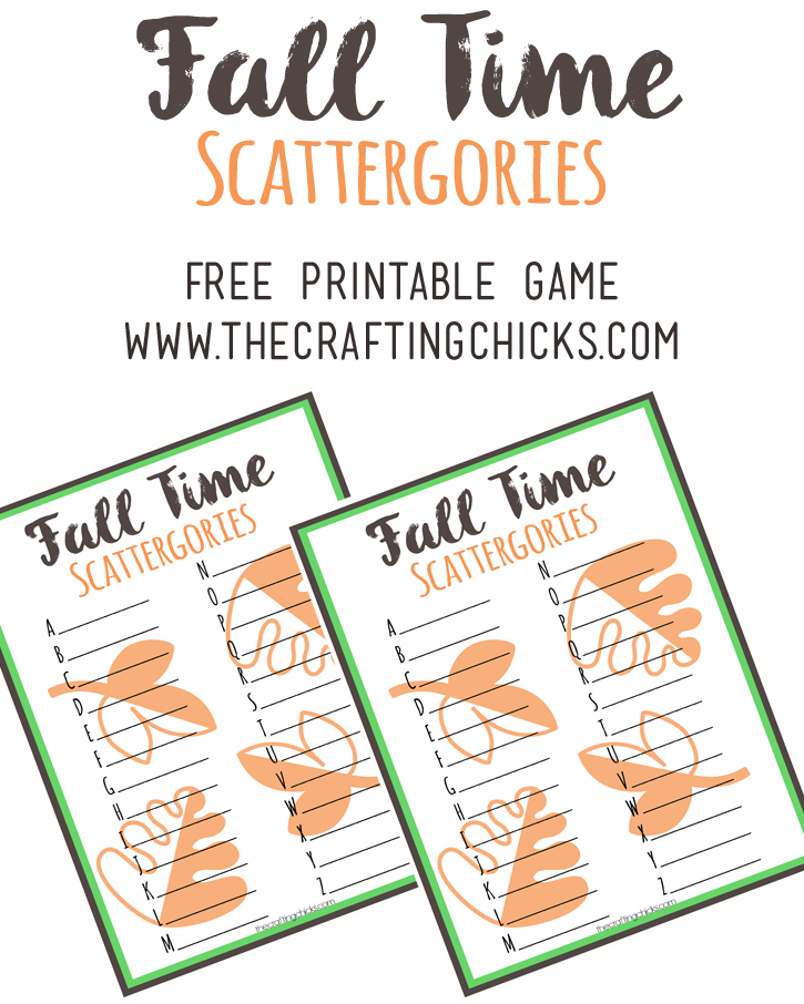 Fall Scattergories Game & Free Printable