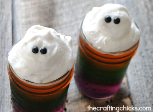 Striped Halloween Jell-O Jars