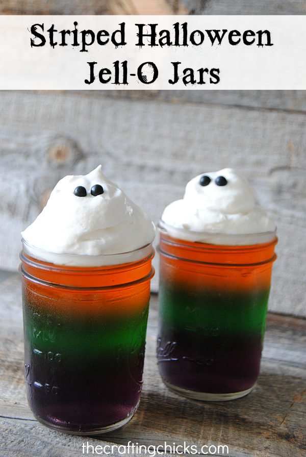 Frightfully fruity and fun, these striped Halloween Jell-O Jars are a great Halloween treat! Don't forget the whipped topping ghosts!