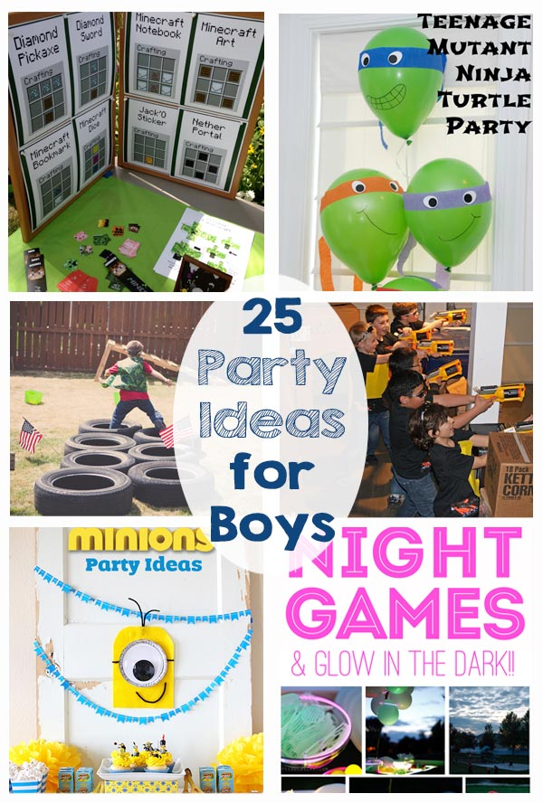 25 Party Ideas for Boys - Superhero, dinosaur, star wars, minecraft, pirates, laser tag, lego, night games, minions, rockets, army, sports, ninja... the post has so many ideas for birthday parties!!