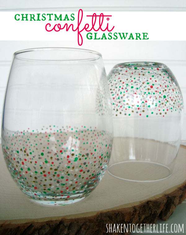 DIY Confetti Glassware from Shaken Together