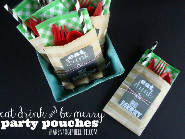 Eat Drink and Be Merry party pouches from Shaken Together