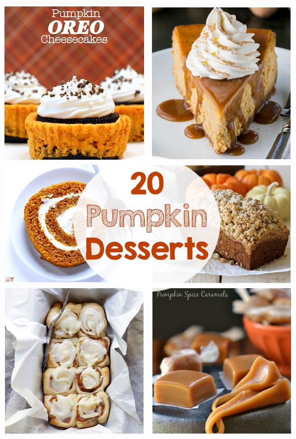 20 Yummy Pumpkin Desserts - cheesecake, cupcakes, bread, cinnamon rolls, caramel, ice cream, truffles, cookies, bars, cream pies... so many great recipes!