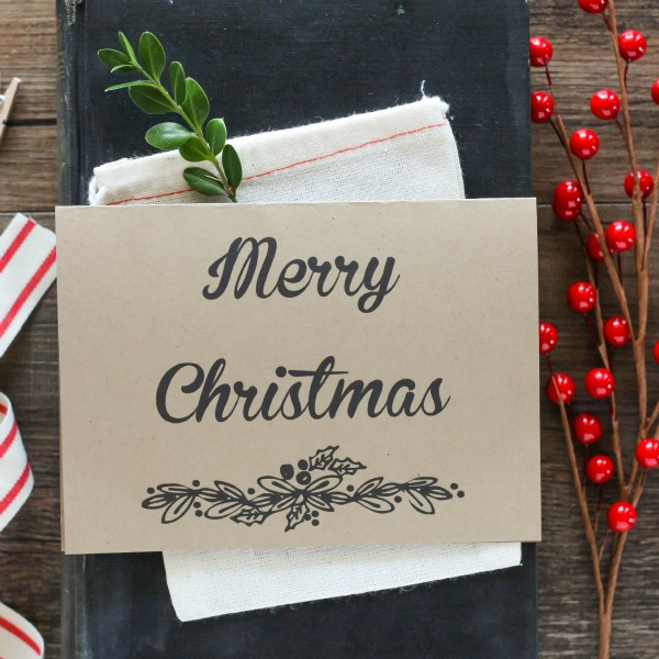 featured image - free merry christmas card printable