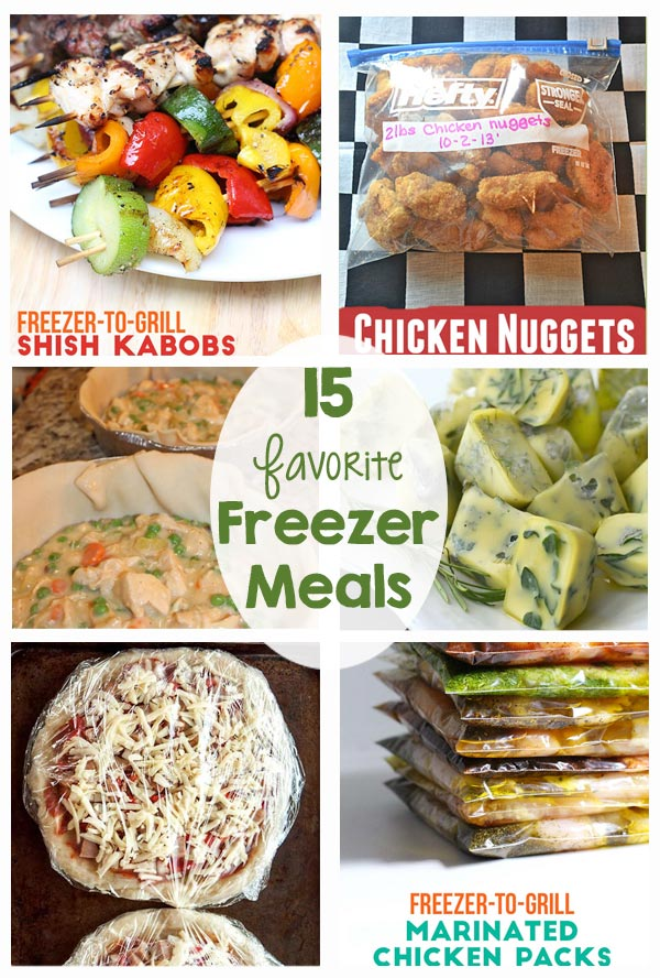15 Favorite Freezer Meals - Love these recipes! Healthy options, kid friendly, saves time!