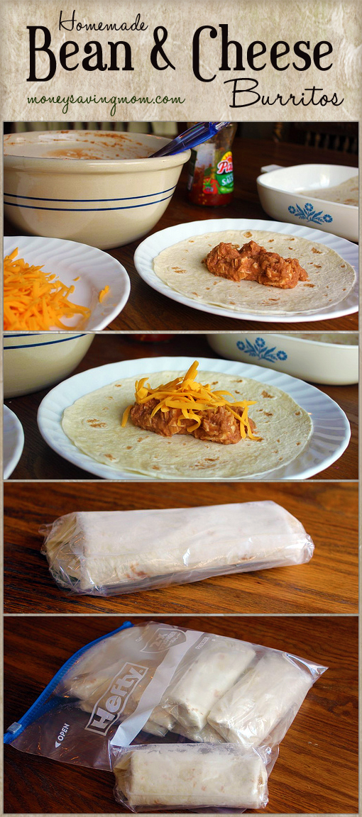 Homemade bean and cheese burritos