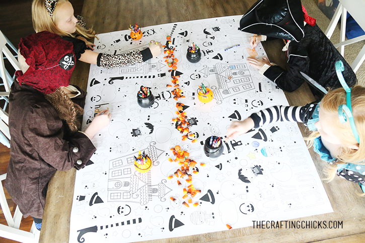 Halloween Printable Coloring Tablecloth
