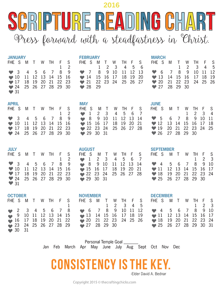 2016 Scripture Reading Chart with Mutual Theme