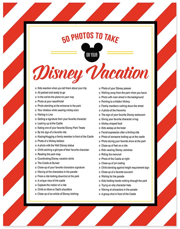 photos to take on your disney vacation