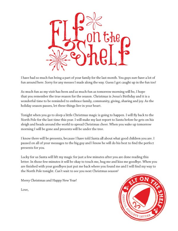 Critical image with printable letters from elf on the shelf