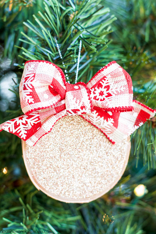 DIY Birch Wood Glitter Ornaments