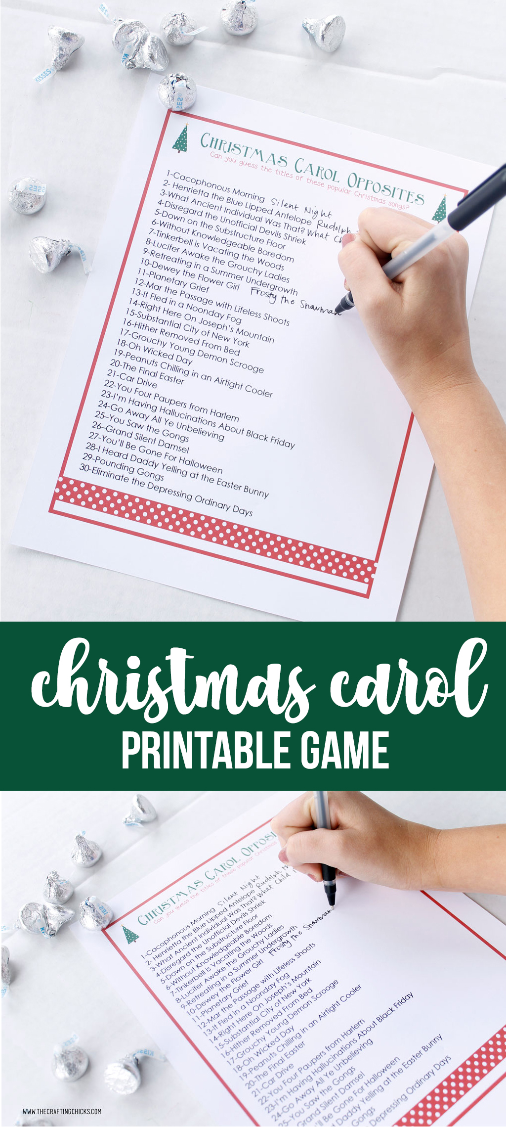 photo relating to Guess the Christmas Song Printable named Xmas Carol Opposites Activity