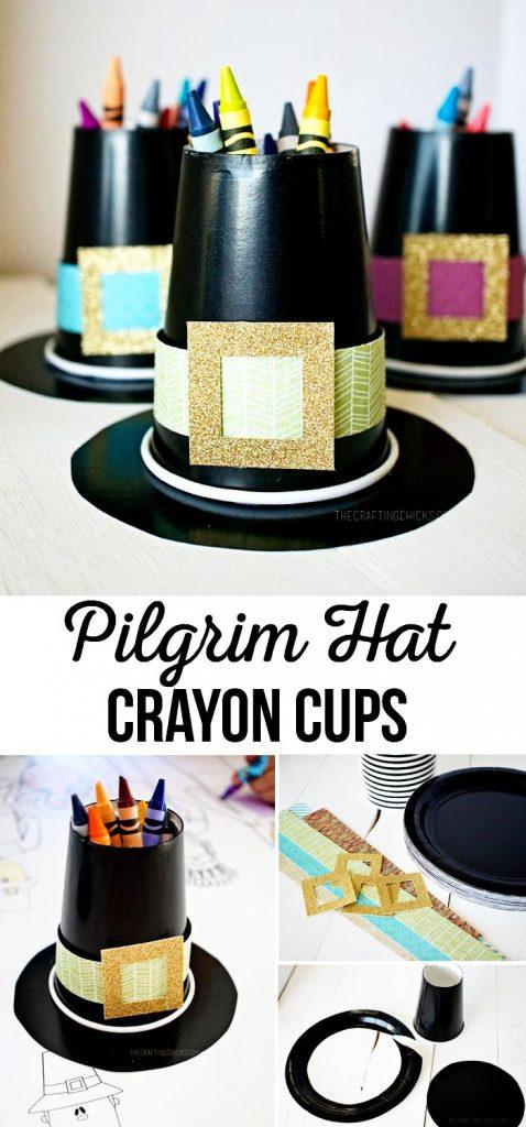 Pilgrim Hat Crayon Holders #thanksgiving #kidstable