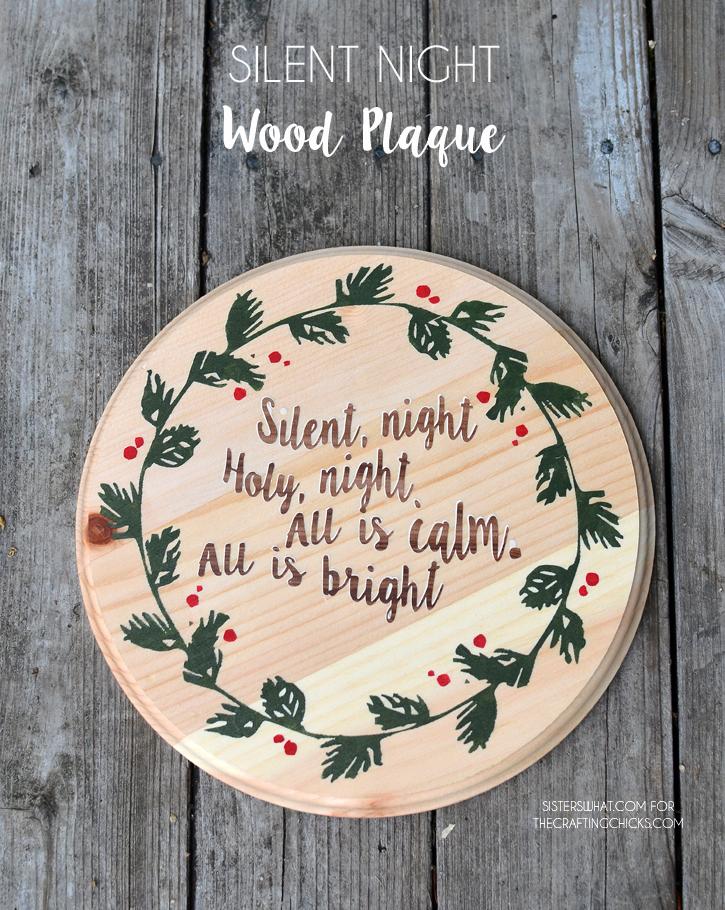 Silent Night Wood Plaque