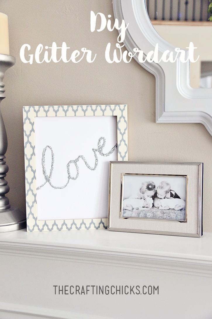 Hot Glue Glitter Word Art