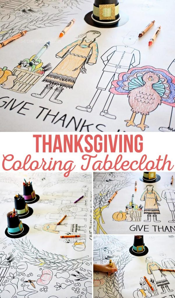Thanksgiving Coloring Tablecloth #kidstable #thanksgiving #printable #freedownload