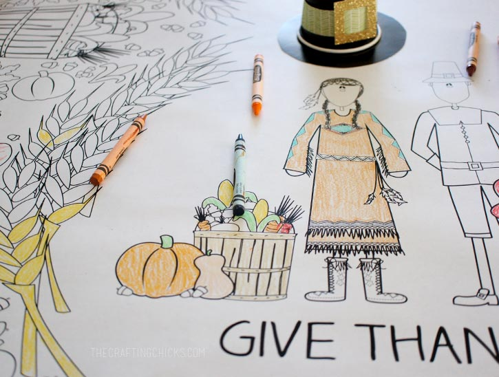 Thanksgiving Coloring Tablecloth The Crafting Chicks