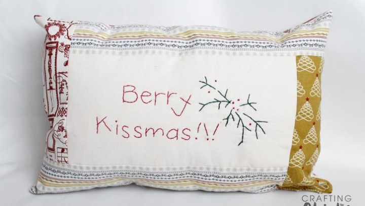 Hand-Stitiched Berry Kissmas Pillow