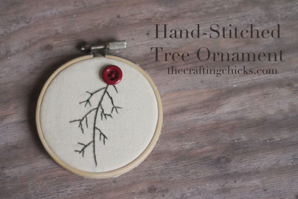 hand stitched tree ornament