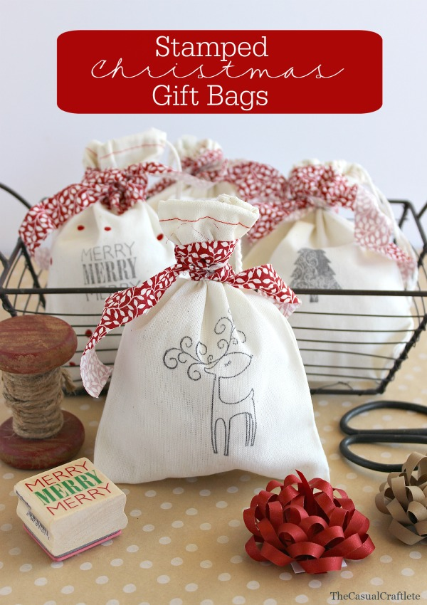 stamped christmas gift bag