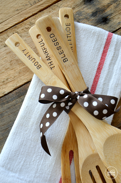 hand stamped wooden spoons
