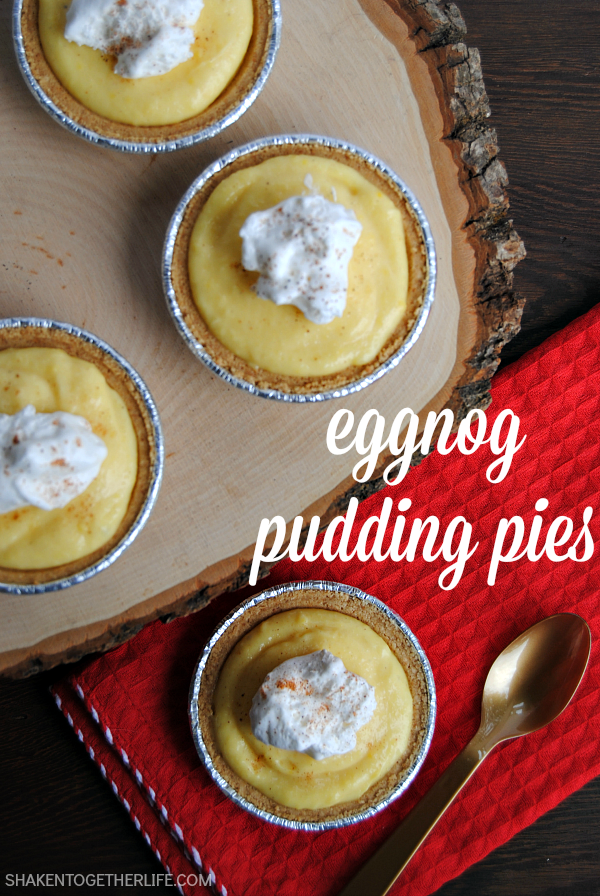 Mini Eggnog Pudding Pies from Shaken Together