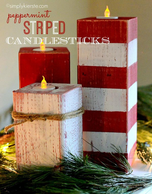 diy peppermint stripped candlesticks