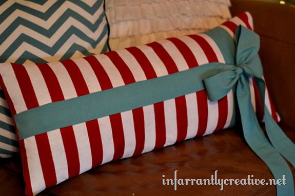 diy striped pillow
