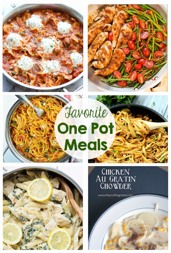 Favorite One Pot Meals - pasta, vegetables, chicken, beef, chili, alfredo, lasagna, mac and cheese, lemon, spaghetti - So many great recipes!