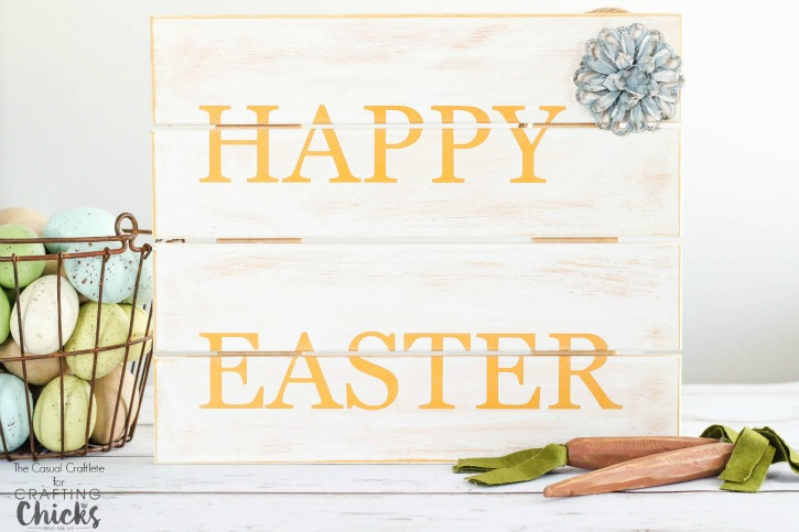 DIY Happy Easter Wood Sign - create a custom sign to decorate for Easter.