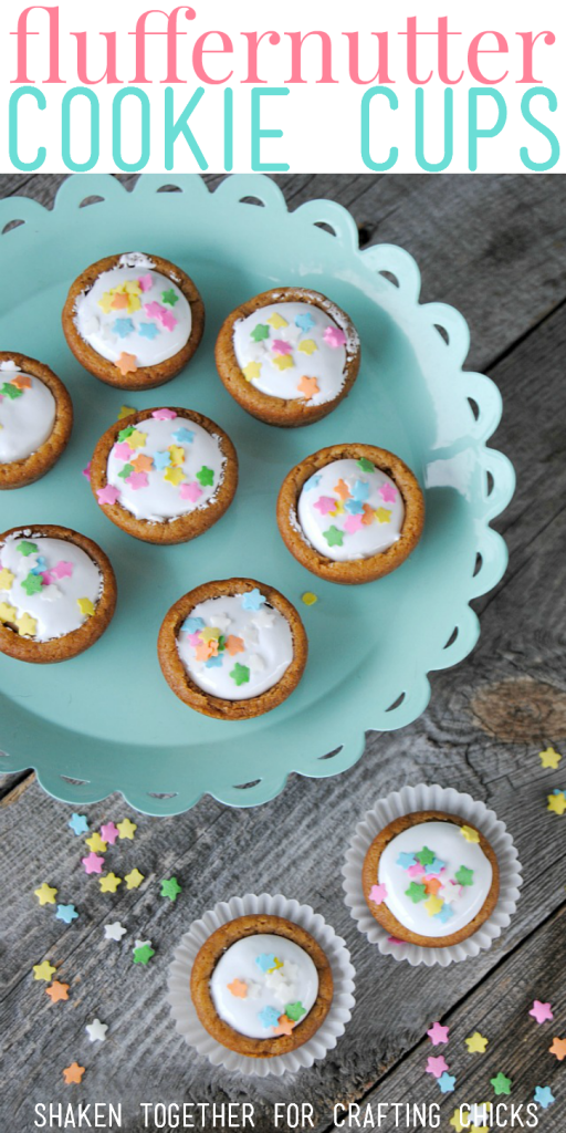 Super easy, super adorable 2 ingredient Fluffernutter Cookie Cups!