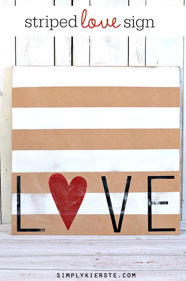 DIY Striped Love Sign