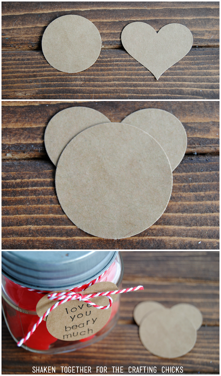 Easy Bear Shaped Tag for the Love You Beary Much Valentine's Mason Jar Gift!