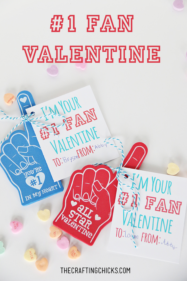 #1 Fan Valentine Foam Fingers
