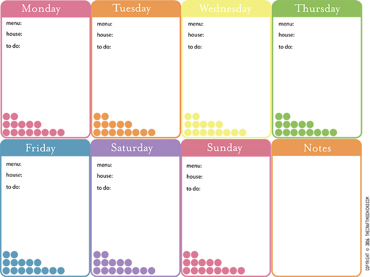 weekly dinner menu template