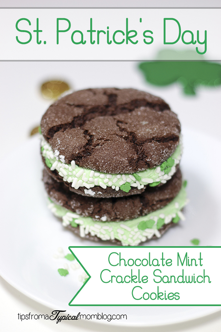 St. Patrick's Day Chocolate Mint Crackle Sandwich Cookies - The ...