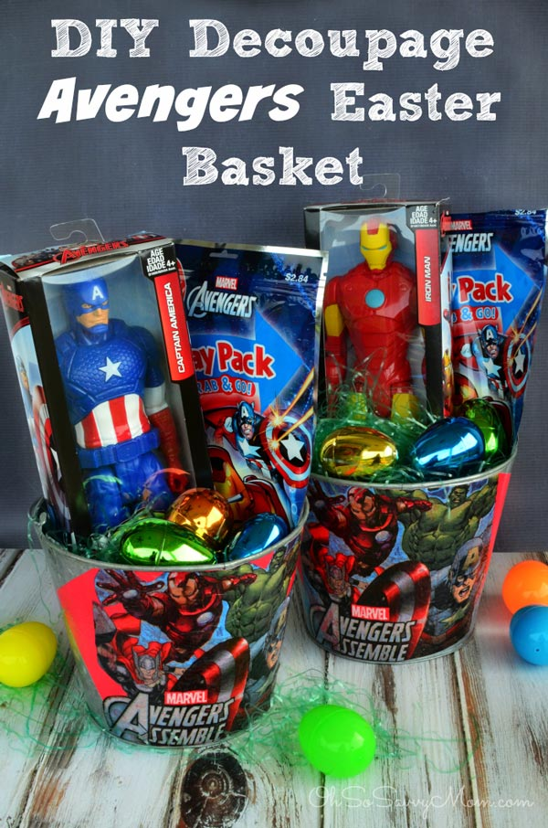 DIY Decoupage Avengers Easter Basket