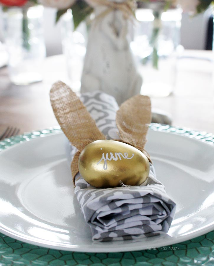DIY Burlap Bunny Place Setting - Easter table decor