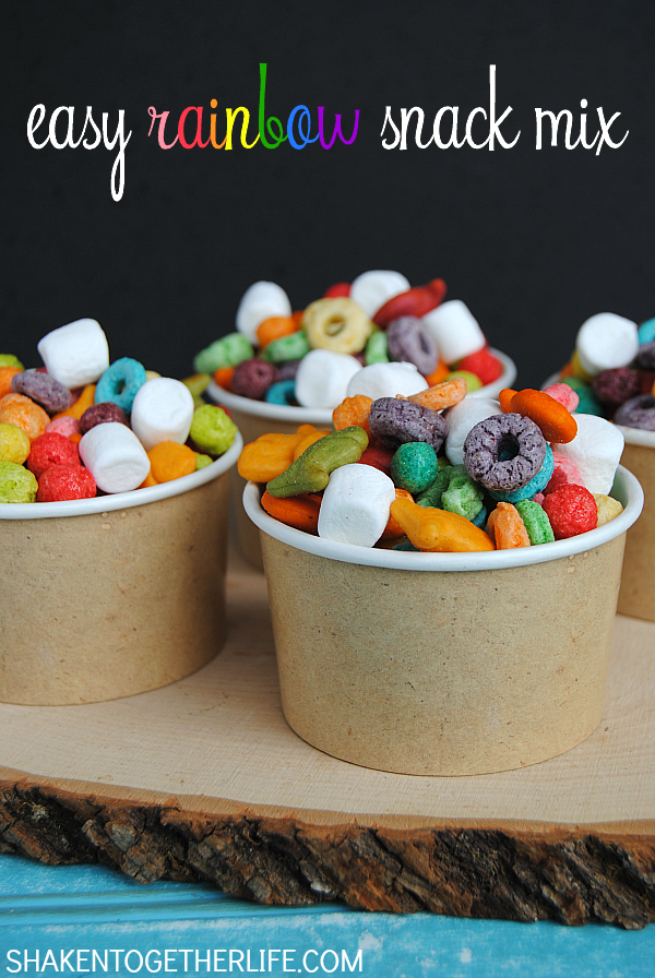 Easy Rainbow Snack Mix from Shaken Together!