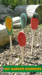 Painted spoon garden markers