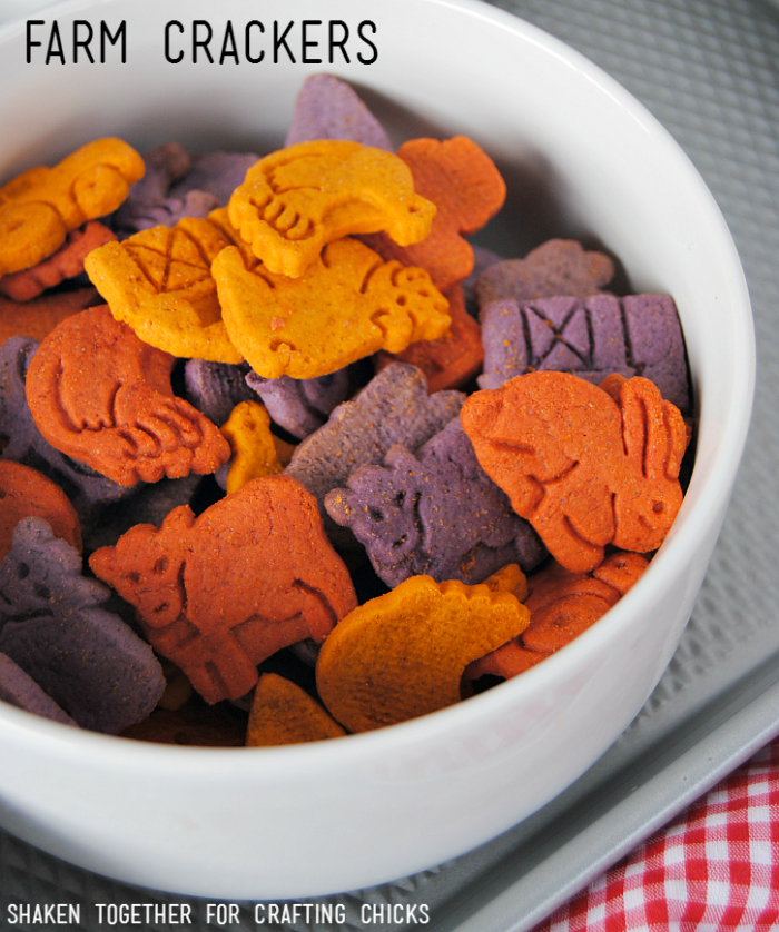 On the Farm Snack Mix - these farm crackers add a pop of color!