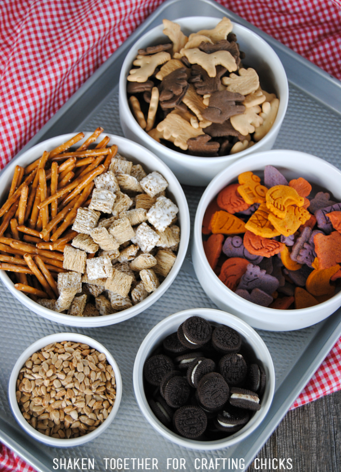 Now the fun part - the farm themed ingredients for our On the Farm Snack Mix!