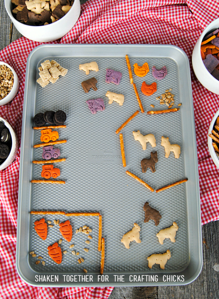 Use our On the Farm Snack Mix to build an edible farm - it is okay to play with your food!