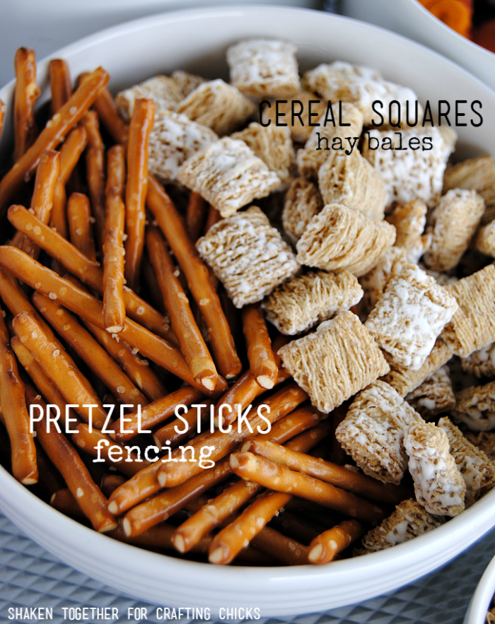 On the Farm Snack Mix - add pretzel sticks for fencing and cereal for hay bales!