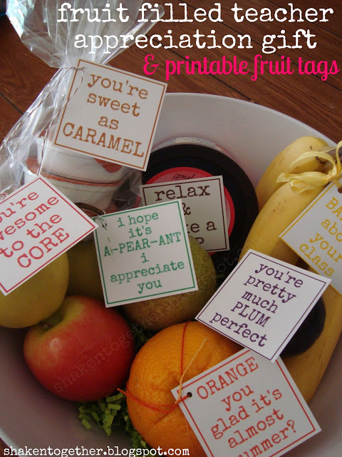 Fruit Bowl Teacher Gift + Printable Tags from Shaken Together